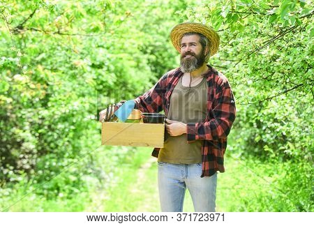 Agriculture Gardener Hobby And Garden Job. Planting Seedlings In The Garden. People Gardening Home.