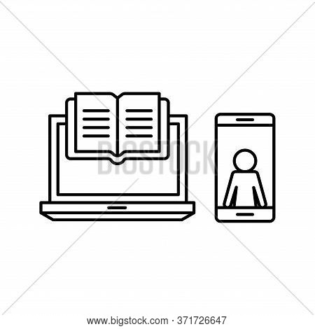 Ebook Laptop And Smartphone Silhouette Style Icon Design, Education Online And Elearning Theme Vecto