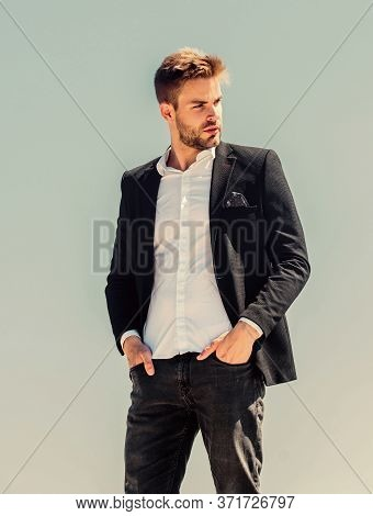 Sexy Macho Man. Male Grooming. Confident Businessman. Handsome Man Fashion Model. Success Concept. S