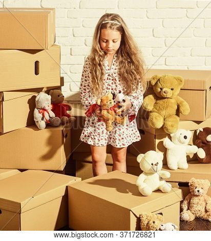 Everyones Dream. Happy Child Cardboard Box. Playing Into New Home. New Apartment. Purchase Of New Ha
