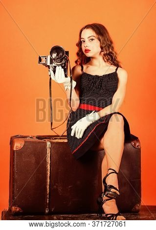 My Best Trip. Travel Journalist Sit On Luggage. Little Reporter Make Photo. Vintage Camera. Girl Ret