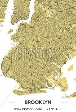 Detailed Borough Map Of Brooklyn New York City, Color Vector City Street Plan, Printable Travel Post