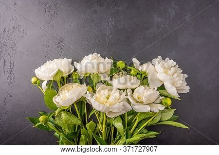 Fresh Bouquet Of White Peonies On A Dark Graphite Background. Wedding Flowers Card Concept. Top View
