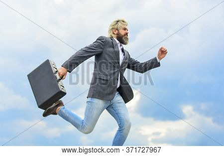 Feel Impact. Steal Something. Hipster Hold Briefcase With Bribe. Businessman Run Away Business Case.