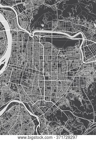City Map Taipei, Monochrome Detailed Plan, Vector Illustration