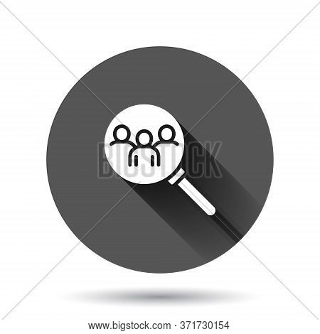 Search Job Vacancy Icon In Flat Style. Loupe Career Vector Illustration On Black Round Background Wi