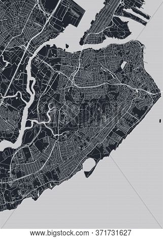 Detailed Borough Map Of Staten Island New York City, Monochrome Vector Poster Or Postcard City Stree