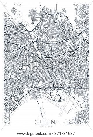 Detailed Borough Map Of Queens New York City, Vector Poster Or Postcard For City Road And Park Plan