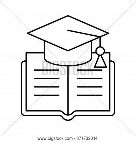 Ebook With Graduation Cap Silhouette Style Icon Design, Education Online And Elearning Theme Vector