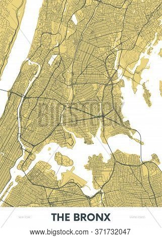 Detailed Borough Map Of The Bronx New York City, Color Vector City Street Plan, Printable Travel Pos