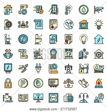 Utilities Icons Set. Outline Set Of Utilities Vector Icons Thin Line Color Flat Isolated On White