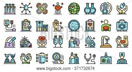 Blood Donation Icons Set. Outline Set Of Blood Donation Vector Icons Thin Line Color Flat Isolated O