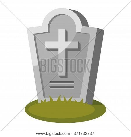 Gravestone With Cross On Green Grass. Old Tombstone In Cemetery. Memorial Stone.