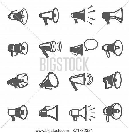 Megaphones, Speakers Line And Bold Black Icons Set. Loudspeakers, Bullhorns Pictograms.