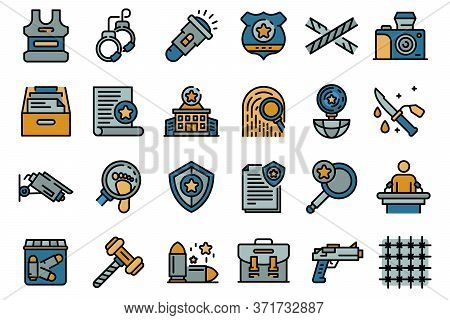 Investigator Icons Set. Outline Set Of Investigator Vector Icons Thin Line Color Flat Isolated On Wh