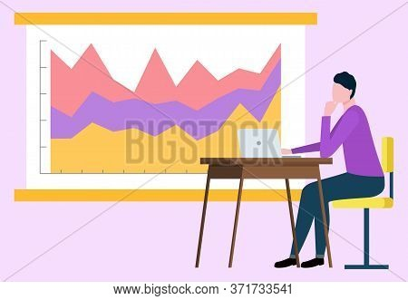 Office Worker Analysing Information On Whiteboard Vector, Infocharts And Flowchart Colored. Man With