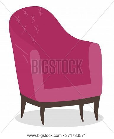 Coffeehouse Element Of Furniture Soft Chair Isolated On White. Contemporary Armchair In Pink Color E