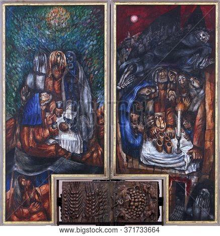 WASSERALFINGEN, GERMANY - MAY 05, 2014: Abraham with three strangers, Passover dinner, high altar by Sieger Koder in St. Stephen's church in Wasseralfingen, Germany