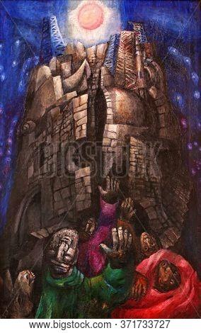 WASSERALFINGEN, GERMANY - MAY 05, 2014: Tower of Babel, detail of high altar by Sieger Koder in St. Stephen's church in Wasseralfingen, Germany