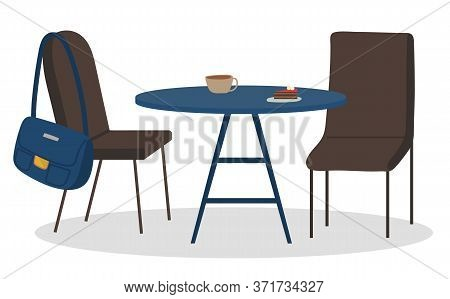 Table With Coffee Beverage And Dessert On Plate, Couple Of Nobody Chairs With Bag Isolated On White.