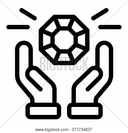 Hands And Diamond Icon. Outline Hands And Diamond Vector Icon For Web Design Isolated On White Backg