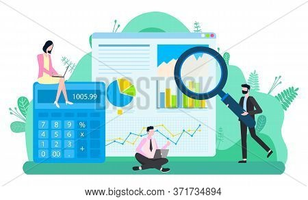 Teamwork Accounting, Calculator And Graph Report, Man Holding Loupe. Investment And Communication Wi