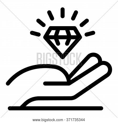 Hand And Crystal Icon. Outline Hand And Crystal Vector Icon For Web Design Isolated On White Backgro