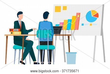 Chars And Information On Whiteboard. People Looking At Board Brainstorming. Company Workers On Meeti