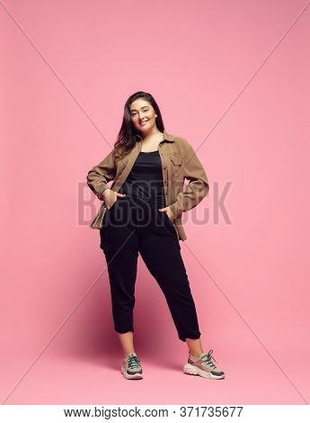Fashionable, Stylish. Young Woman In Casual Wear On Pink Background. Bodypositive Character, Feminis