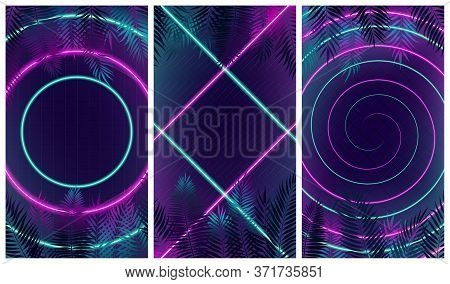 Set Of Futuristic Abstract Modern Compositions With Pink And Turquoise Neon Rays, Hi-end Multi Color