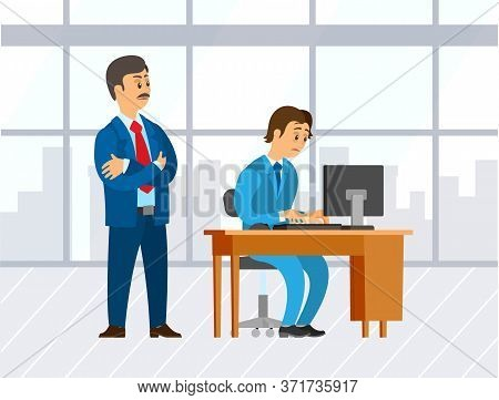 Office Worker Newcomer Vector. Confident Boss And Novice Worrying About Tasks. Employer And Employee