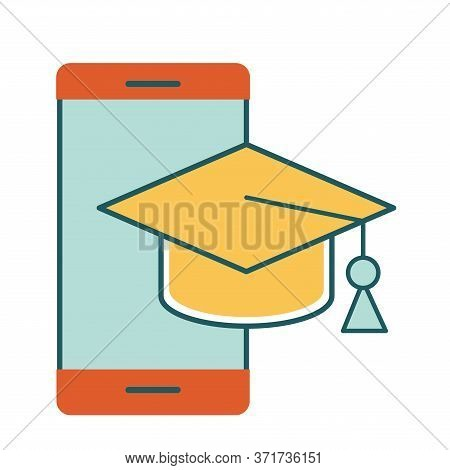 Smartphone With Graduation Cap Line And Fill Style Icon Design, Education Online And Elearning Theme