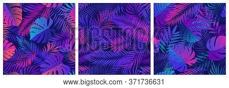 Set Of Seamless Patterns With Tropical Exotic Leaves And Plants, Vector Set In Ultraviolet Shades, W