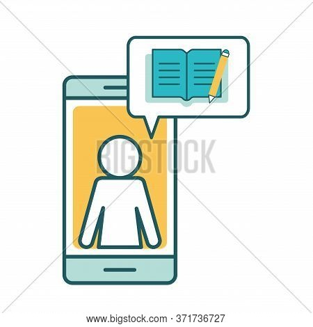 Avatar On Smartphone With Ebook Line And Fill Style Icon Design, Education Online And Elearning Them