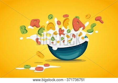 Food Lettering Cereal Oats Rings Splash Milk Yoghurt Breakfast Drink