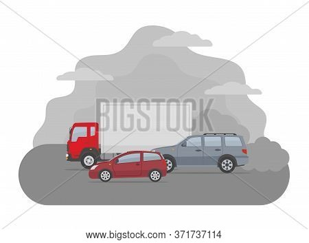 Pollution From The Exhaust Of Cars. Ecology Problems Concept. Flat Style, Vector Illustration.