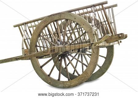 Old Wooden Cart Thai Style Wagon For Cows Drag, Isolated On White Background,cliping Part