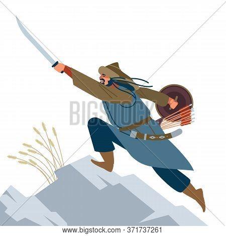 Mongol Warrior. Medieval Battle Illustration. Historical Illustration. Isolated Vector Flat Illustra