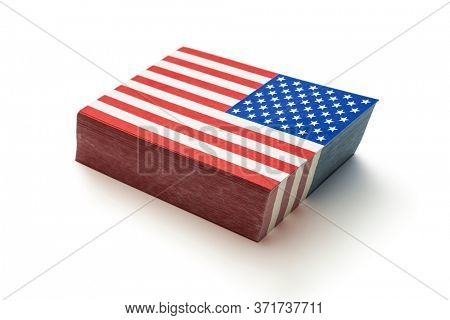 Pile of paper flags of the United States of America, including clipping path