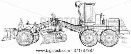 Heavy Equipment Vehicle. Grader. Wire-frame. Vehicle Vector Illustration Transport. The Layers Of Vi