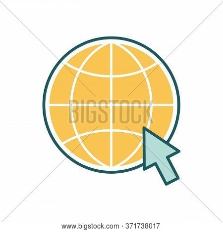 Global Sphere With Cursor Line And Fill Style Icon Design, Education Online And Elearning Theme Vect