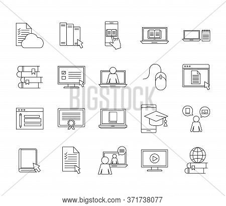 Silhouette Style Icon Set Design, Education Online And Elearning Theme Vector Illustration