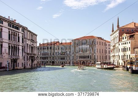 Venice, Italy - September 28, 2015 : Water Channels Of Venice City. Facades Of Residential Buildings