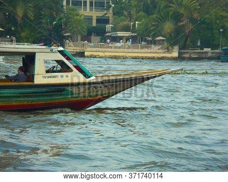 Chao Phraya River Bangkok Thailand-01 February 2019:chao Phraya Express Boat Passenger Boat In The R