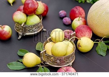 Pears In Antique Silver Bowl On Table Closeup, Healthy Vegetarian Food, Organic Fruit