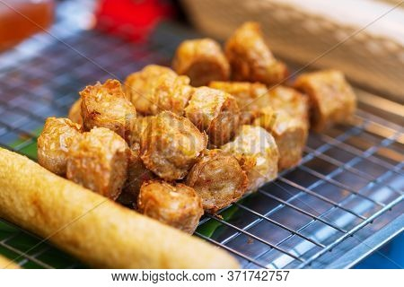 Close Up Of (hoi Jo) Deep Fried Crab Meat Roll Thai Street Food Market
