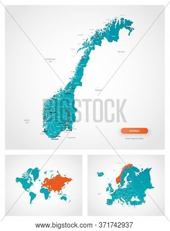 Editable Template Of Map Of Norway With Marks. Norway On World Map And On Europe Map.