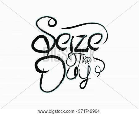 Seize The Day Lettering Text On White Background In Vector Illustration