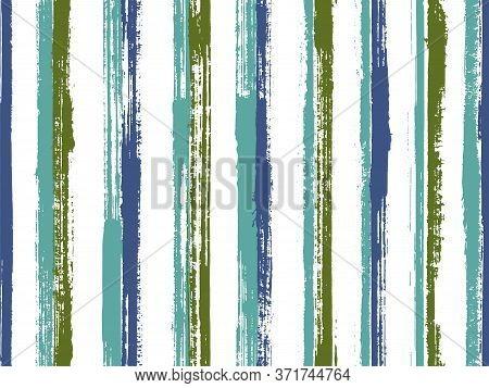 Pain Brush Stroke Rough Stripes Vector Seamless Pattern. Abstract Bedding Textile Print Design. Retr