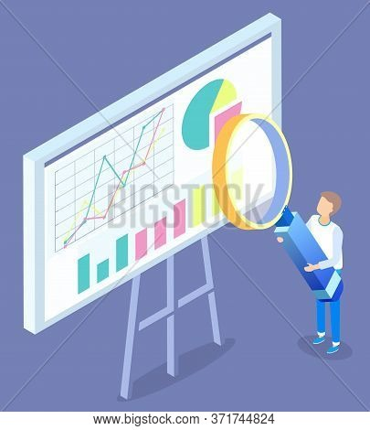 Man Stand Near Statistics Chart On Board And Look On It Through Magnifying Glass. Data Graph With Di